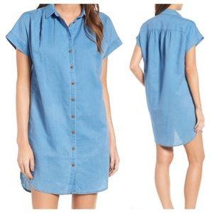 Madewell Central Linen Blend Denim Shirt Dress L